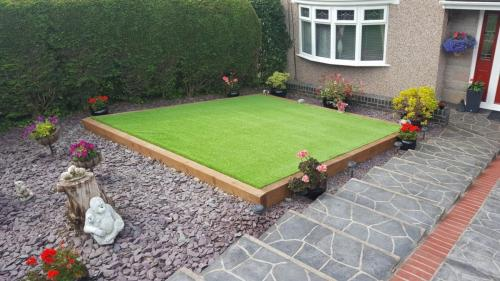 10. Artificial grass front yard