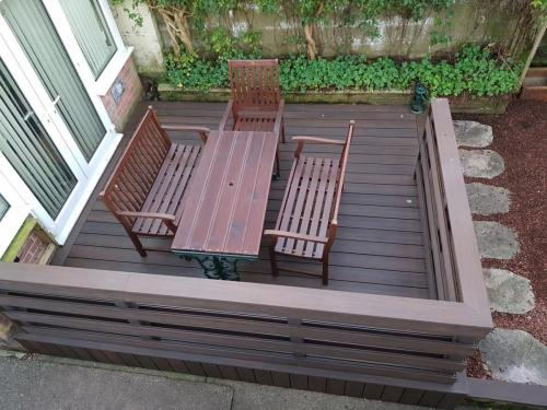 11. Walnut composite deck with Ranch style handrails