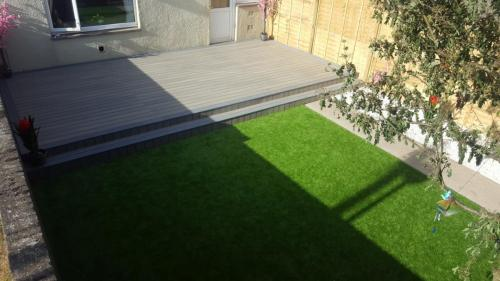 18. Artificial grass with antique deck  with Cotswold shillies