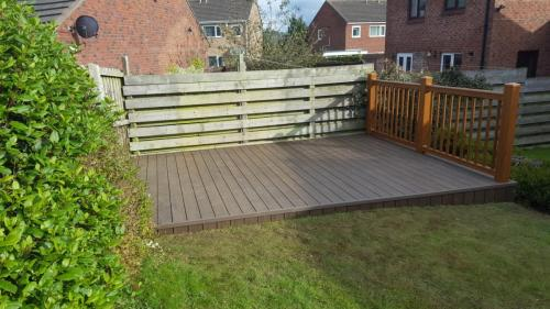 44. Walnut deck with golden oak plastic balustrades